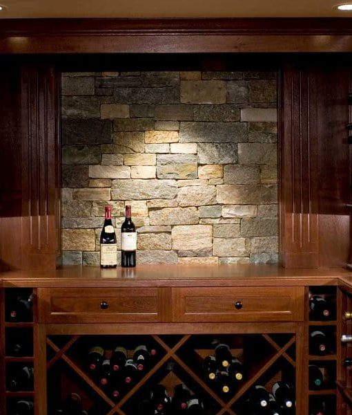 stone veneer wine cellar