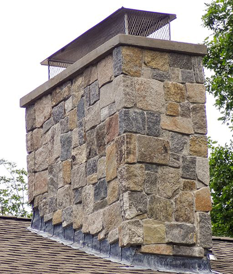 Natural Stone Veneer Fieldstone Square + Rectangle Chimney