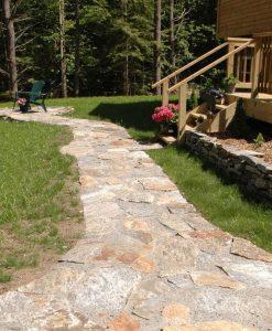 irregular granite stone flagging walkway Cape Cod
