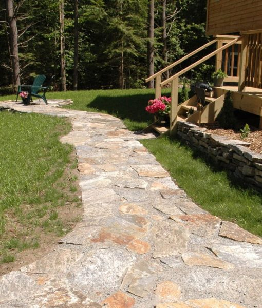 irregular granite stone flagging walkway Cape Cod