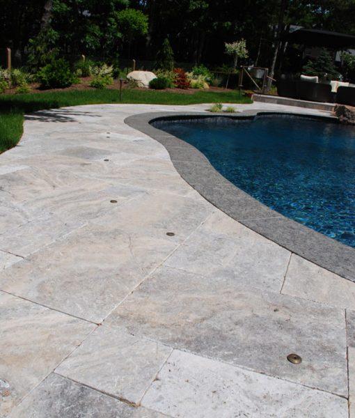 silver travertine pool