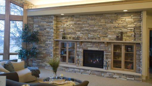 montana ledge suede gray fireplace