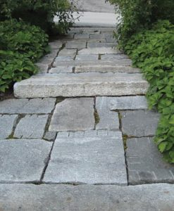 antique granite pavers walkway