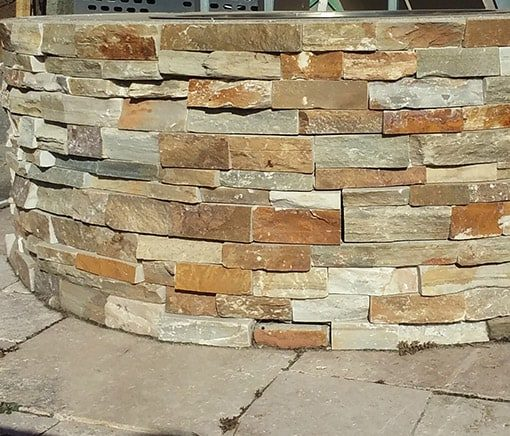 fire pit veneer panels honey gold