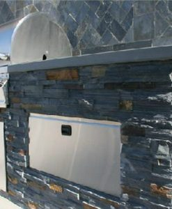 stone veneer midnight sky kitchen