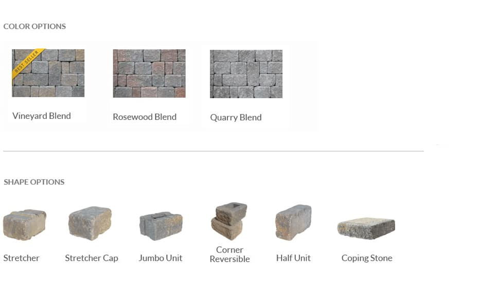 retaining wall pieces colors