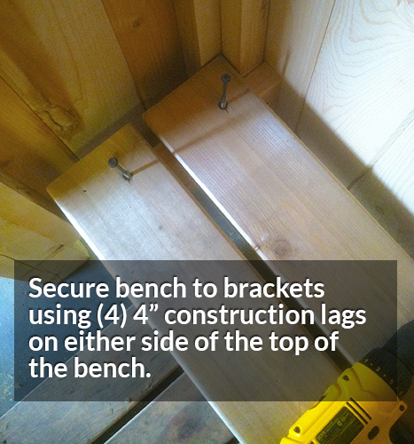 Secure the cedar shower bench using 2 screws on either side of the top of the bench.