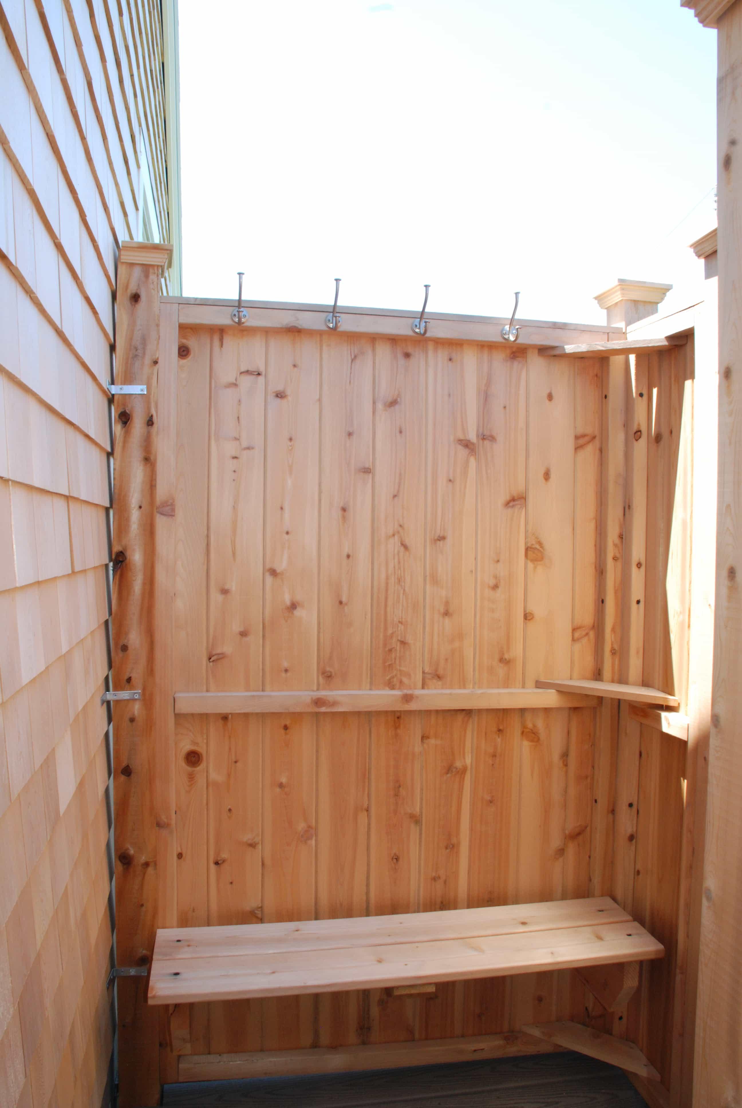 Outdoor Showers Cedar - Custom Shower Bench, Shelf