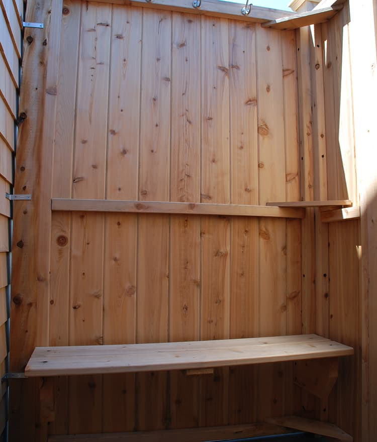 Custom Cedar Shower Bench for Outdoor Shower | Stonewood Products