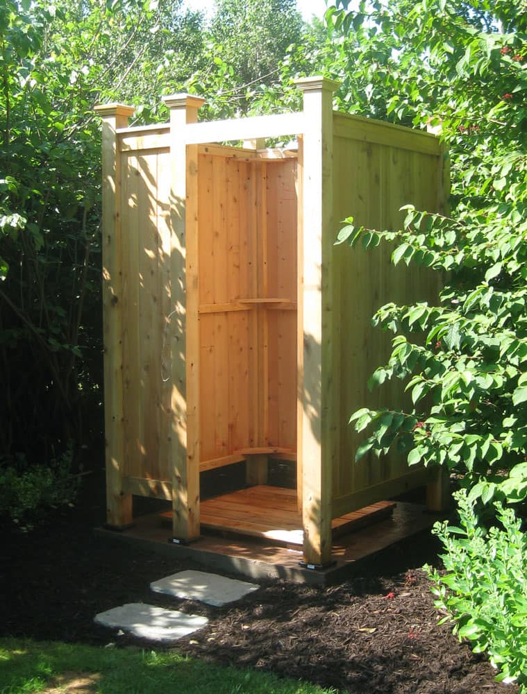 Freestanding Cedar Outdoor Showers | StonewoodProducts.com