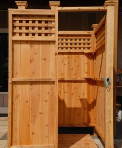 free-standing-latticed outdoor shower