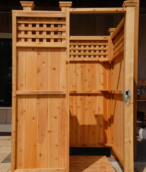 free-standing-latticed outdoor shower