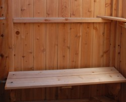 cedar outdoor shower bench