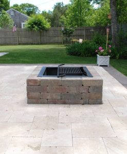 square fire pit stone wood burning Cape Cod Nantucket MA