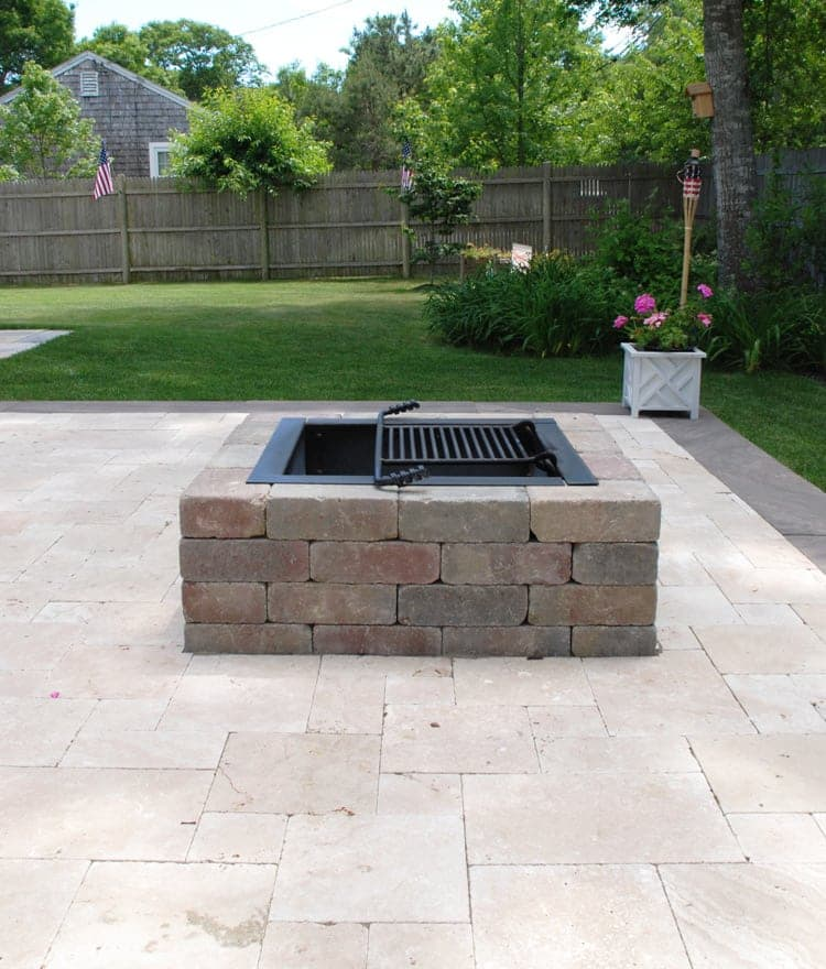 square fire pit stone wood burning Cape Cod Nantucket MA - Square Fire Pit Kit - Modular Stone Fire Pits Cape Cod, Islands