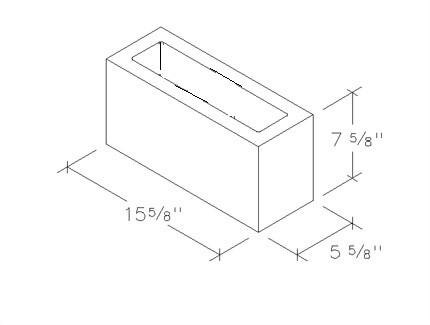 6x8x16 concrete brick 1 core