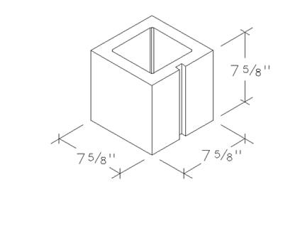 8x8x8 concrete brick half