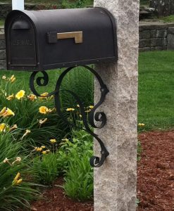Antique granite mailbox post