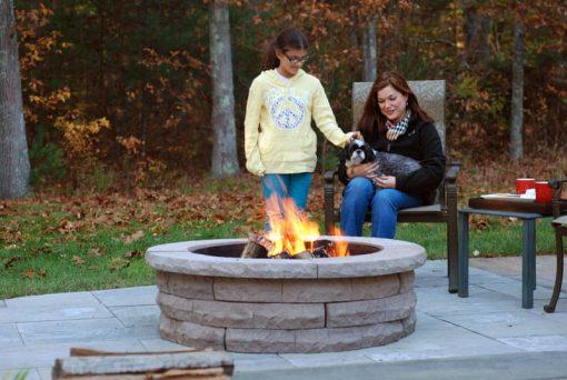 nantucket ledgestone firepit patio