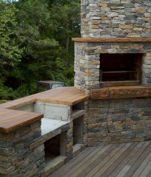 outdoor fireplace straight front small