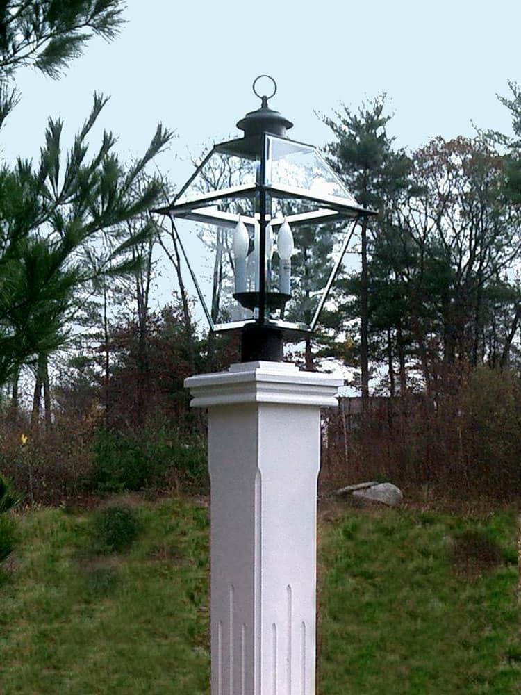 Wood Lamp Post Cap White