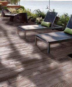 Borealis Smoked Pine concrete pavers poolside
