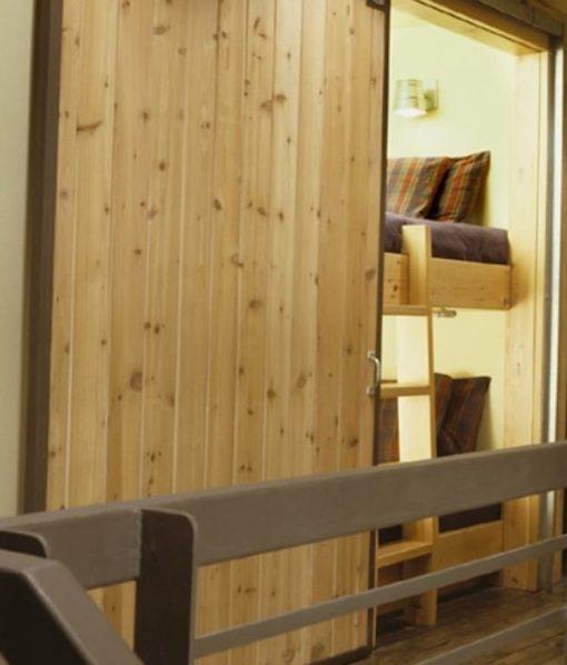 cedar-sided door