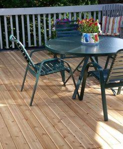 cedar deck with table