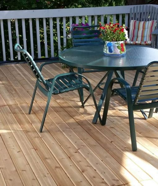 cedar deck with table