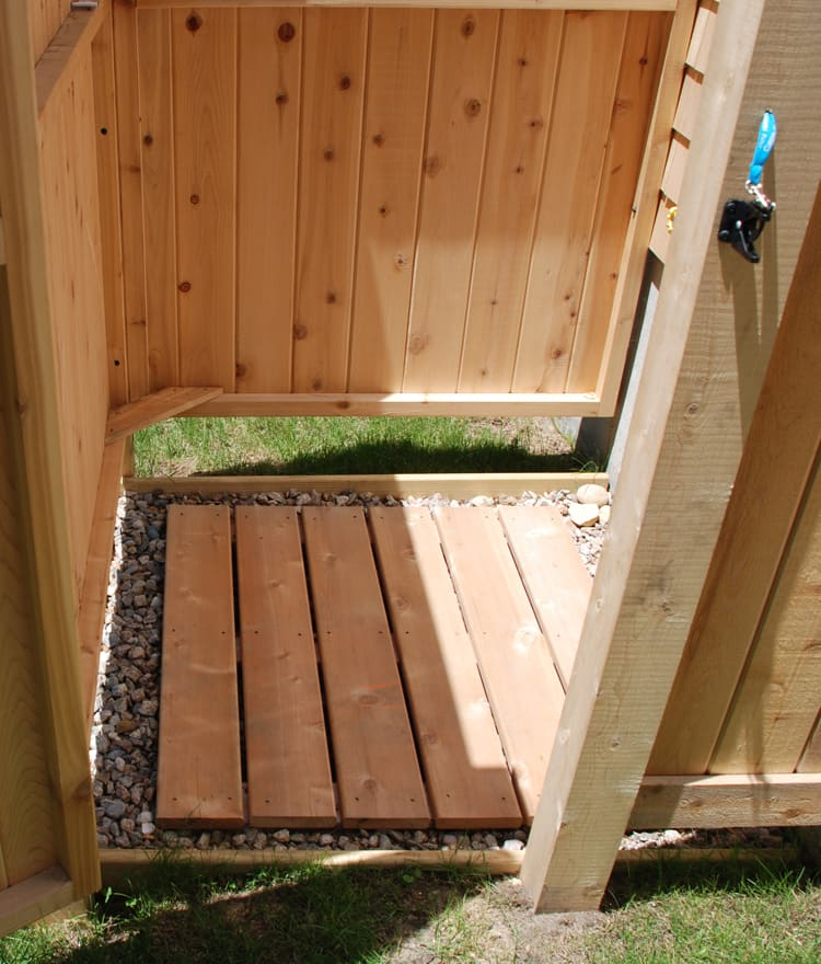 Outdoor Shower Plans Cedar Outdor Shower Floor with