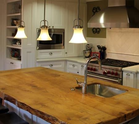 live sawn pine kitchen counter