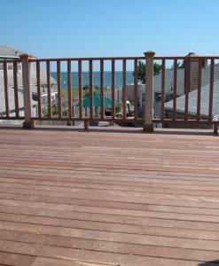 mahogany decking with rail