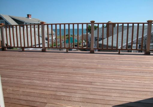 mahogany decking with rail