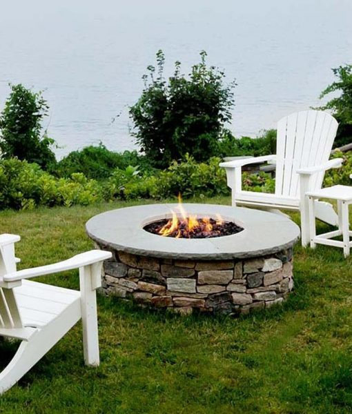 Round Gas Firepit Complete Ledgestone