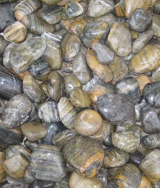 1-2 inch beach pebbles tiger stripe polished
