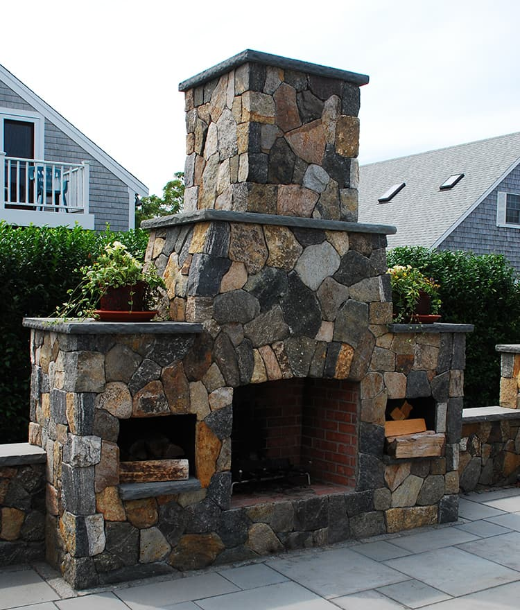 Outdoor fireplaces stone fireplace kits cape cod ma for Prefabricated outdoor fireplace kits