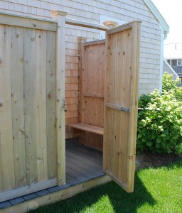 Outdoor Shower Enclosure Kit. Cedar Bench