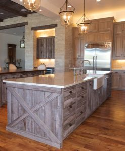 Prairie Brown Barn Wood Siding Kitchen Island Cabinets