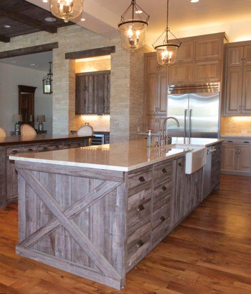 Prairie Brown Barn Wood Siding Kitchen Island Cabinets