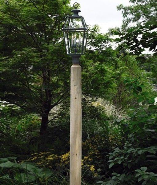 round cedar lamp post