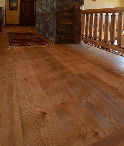 stained circle-sawn rustic fir
