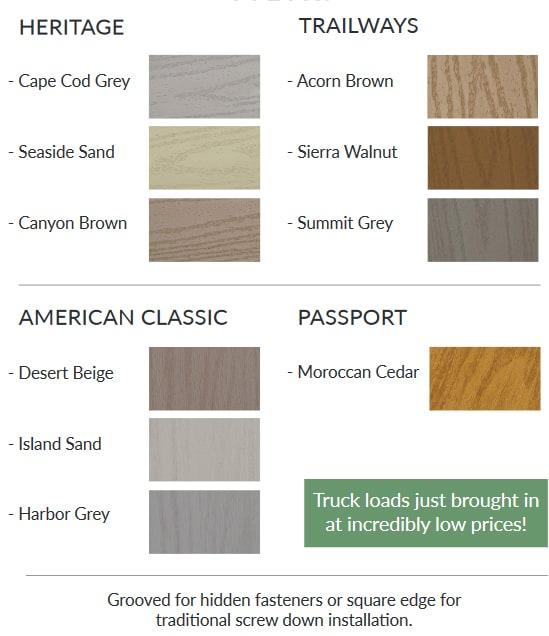 pvc decking colors