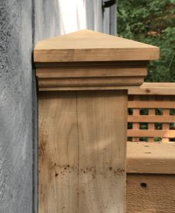 Ouotdoor Shower with cedar post cap closeup