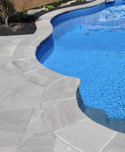 stone pavers around pool