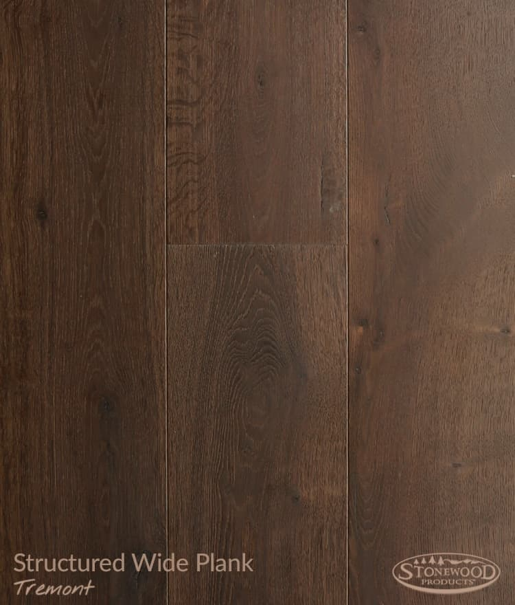 Wide plank hardwood flooring structured Tremont