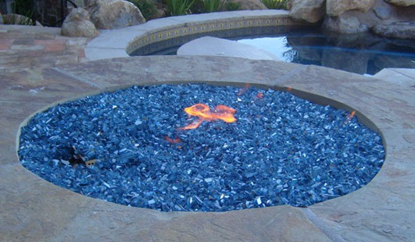 fire glass blue
