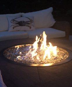 clear fire glass pit lit