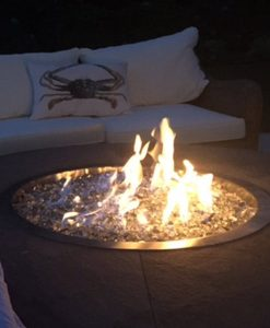 clear fire glass pit lit