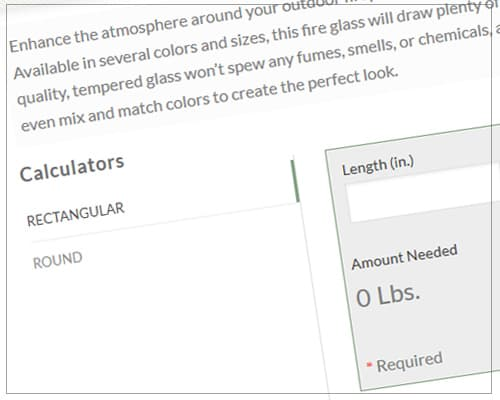 fire glass calculator