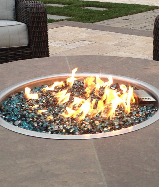 fire glass lit blue azuria